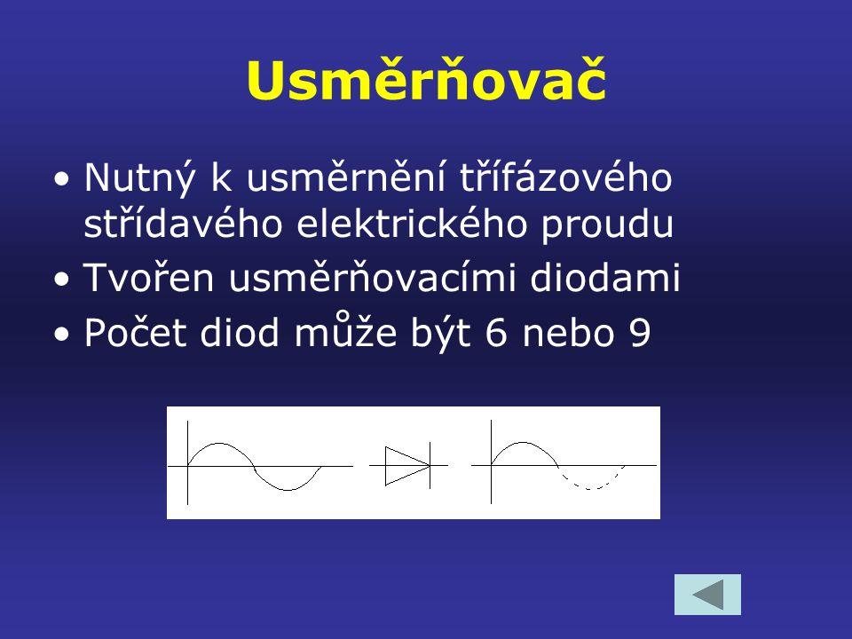 Usměrňovač Nutný k usměrnění třífázového střídavého elektrického proudu. Tvořen usměrňovacími diodami.