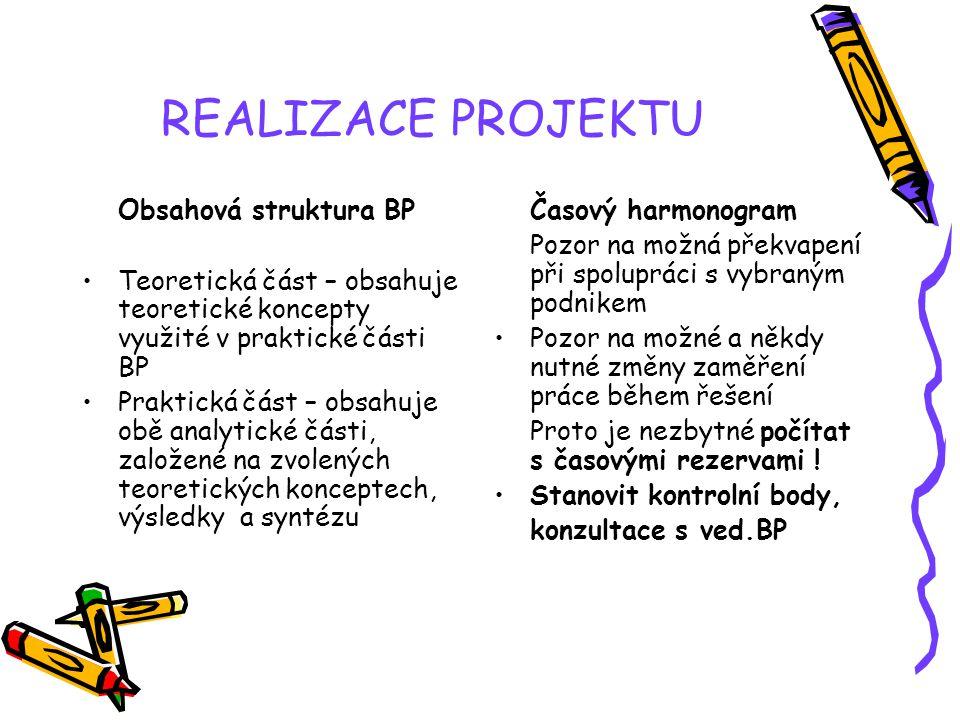 REALIZACE PROJEKTU Obsahová struktura BP