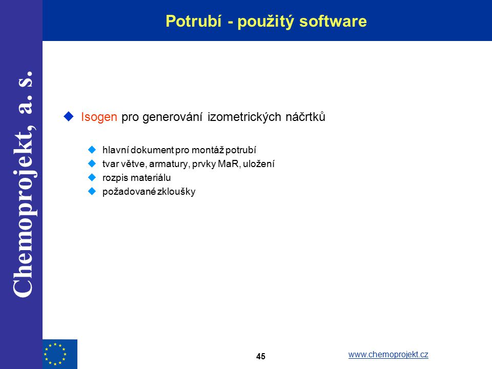 Potrubí - použitý software