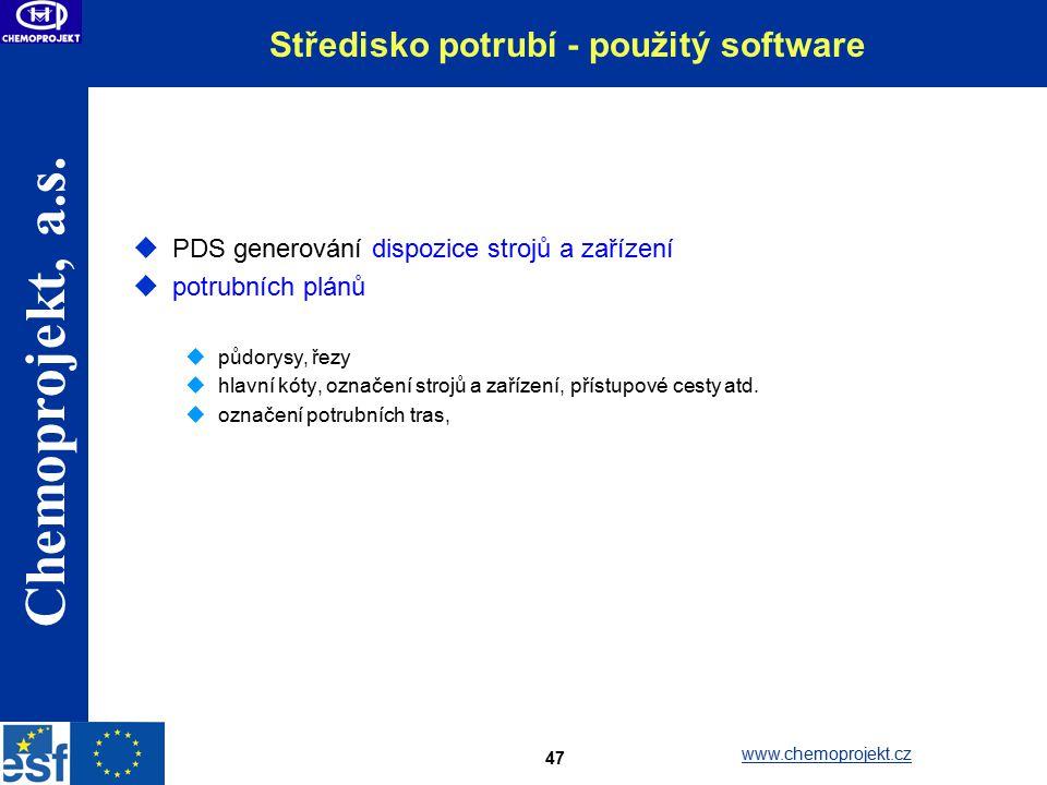 Středisko potrubí - použitý software