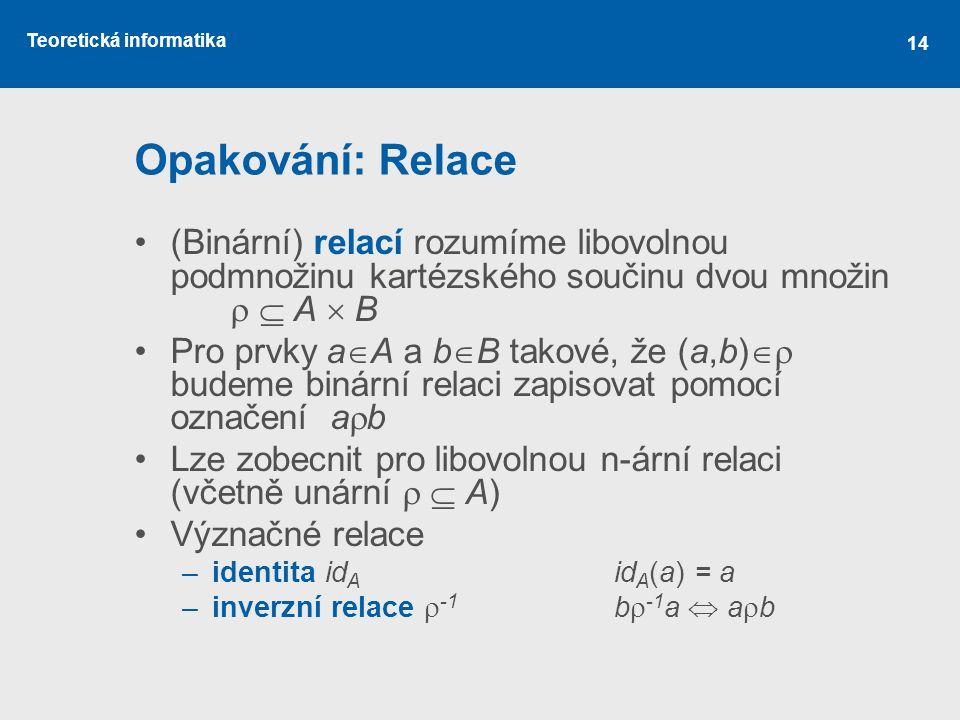 Opakování: Relace (Binární) relací rozumíme libovolnou podmnožinu kartézského součinu dvou množin   A  B.