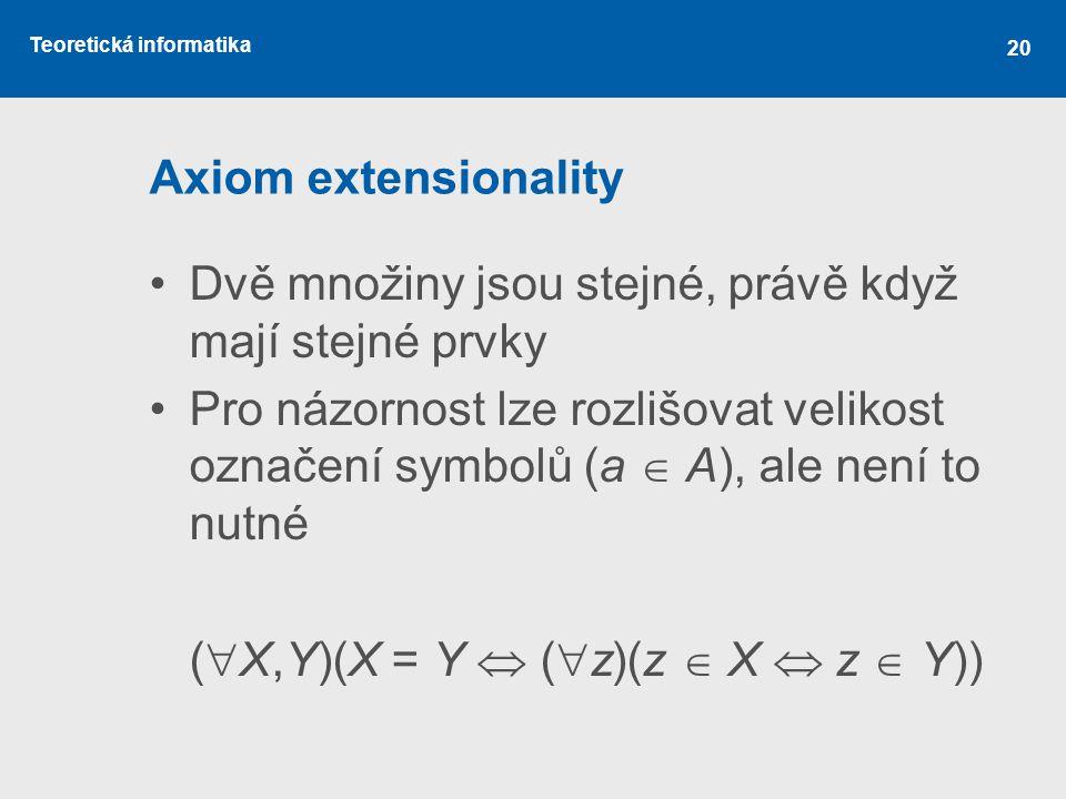 Axiom extensionality Dvě množiny jsou stejné, právě když mají stejné prvky.