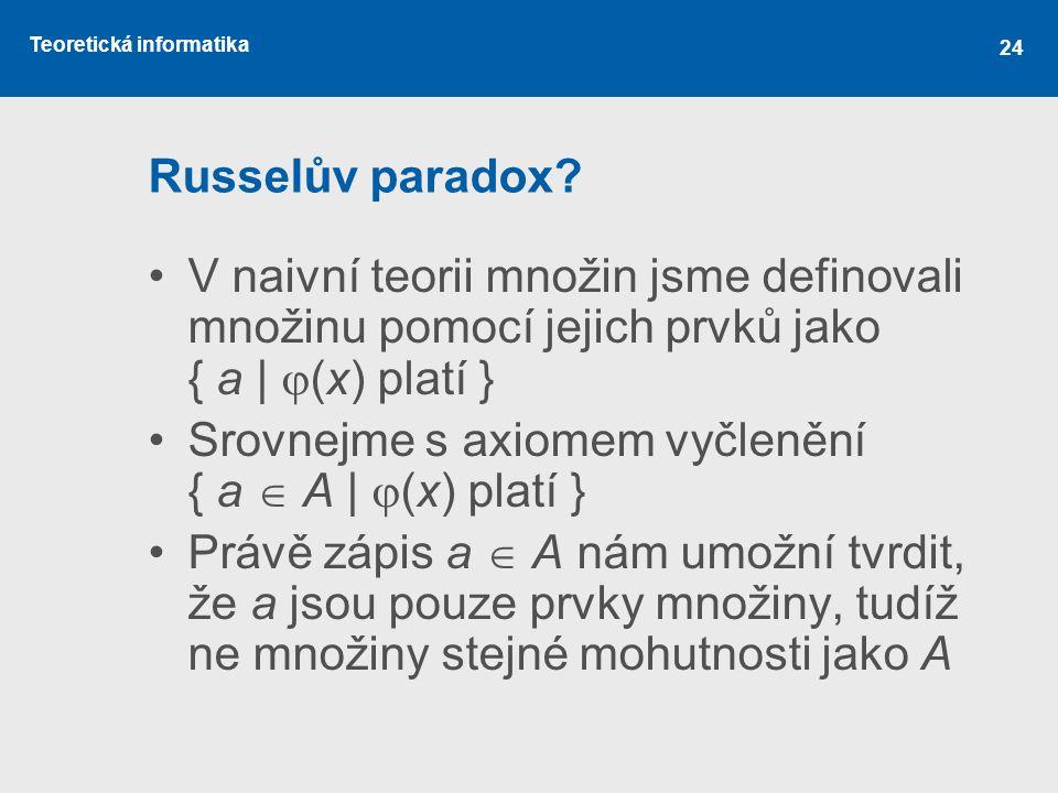 Russelův paradox V naivní teorii množin jsme definovali množinu pomocí jejich prvků jako { a | (x) platí }
