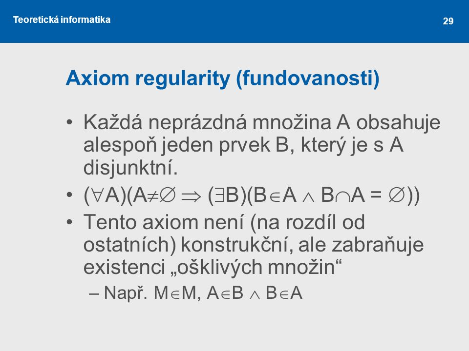 Axiom regularity (fundovanosti)