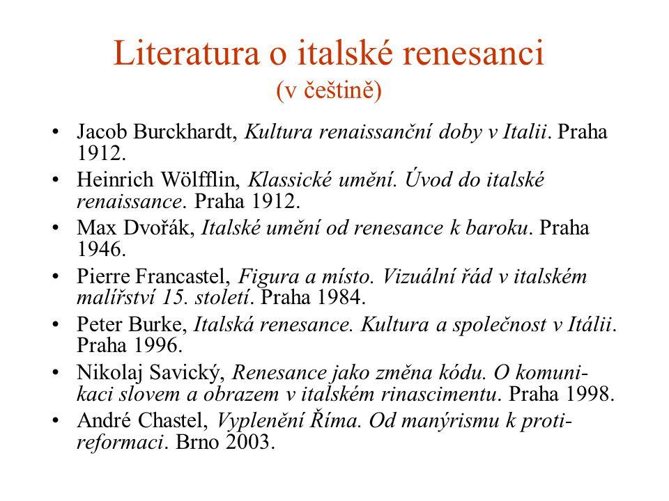 Literatura o italské renesanci (v češtině)