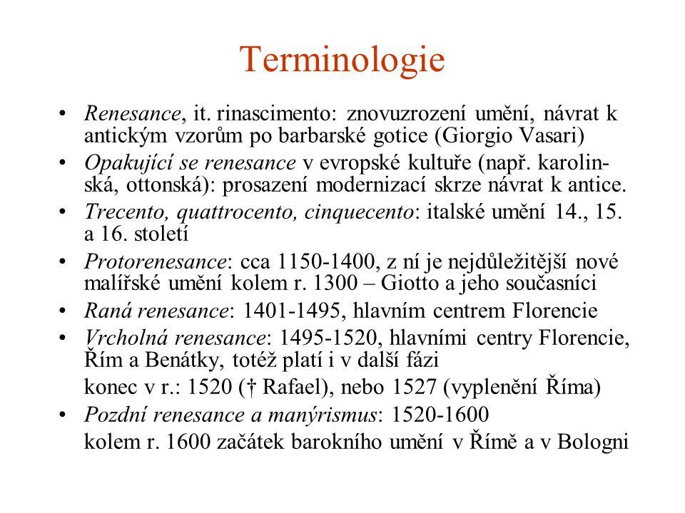 Terminologie Renesance, it. rinascimento: znovuzrození umění, návrat k antickým vzorům po barbarské gotice (Giorgio Vasari)