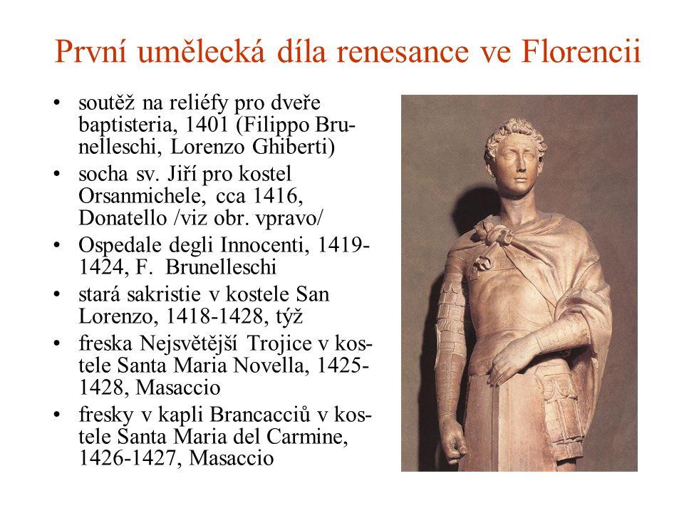 První umělecká díla renesance ve Florencii