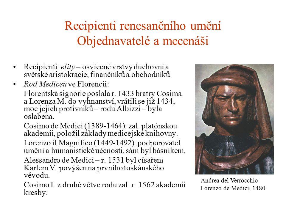 Recipienti renesančního umění Objednavatelé a mecenáši