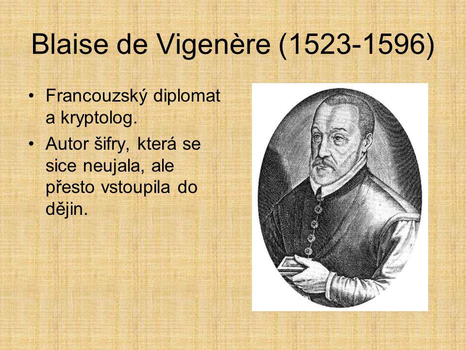 Blaise de Vigenère (1523-1596) Francouzský diplomat a kryptolog.