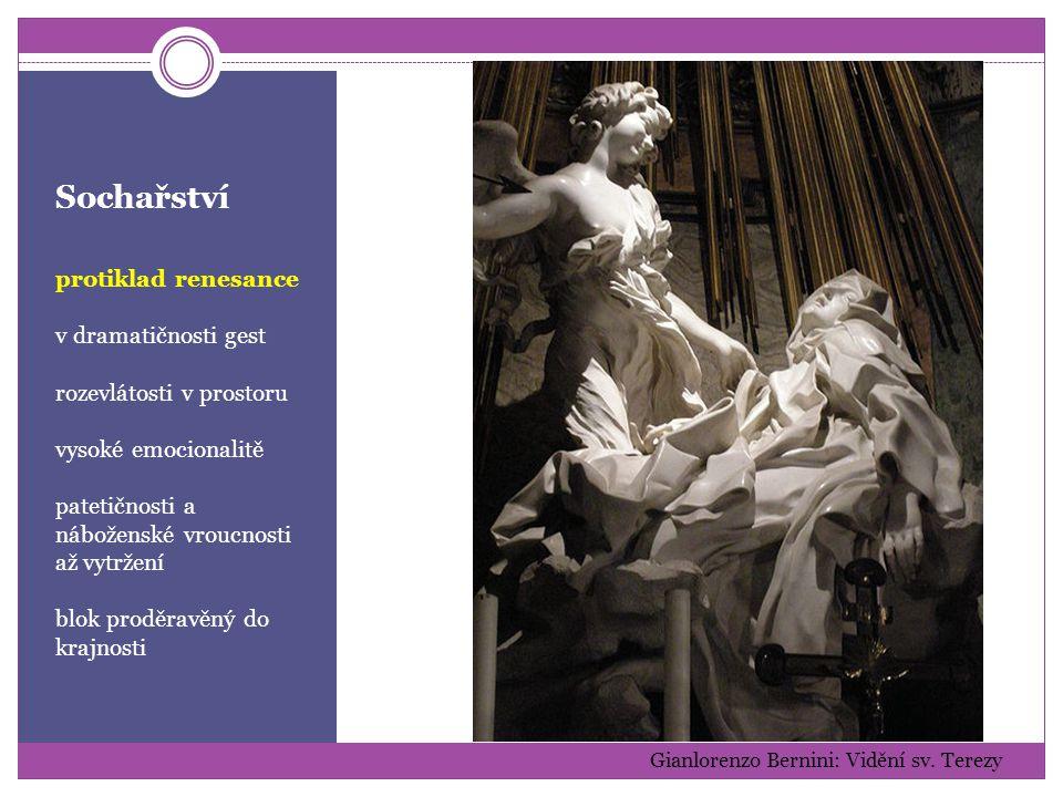 Sochařství protiklad renesance v dramatičnosti gest