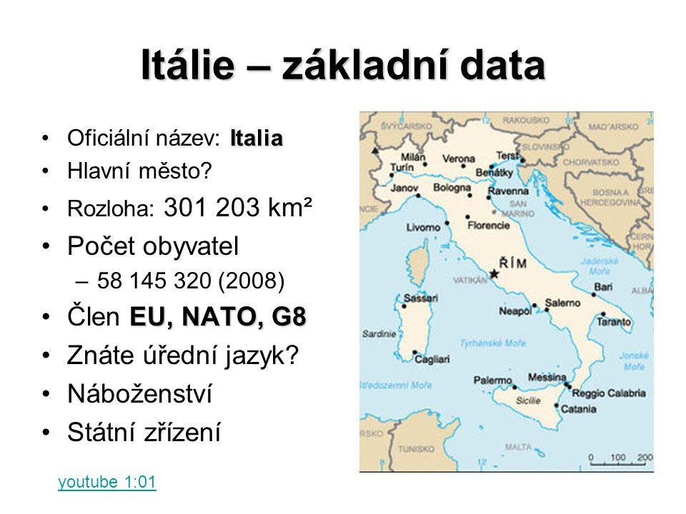 Itálie – základní data Počet obyvatel Člen EU, NATO, G8