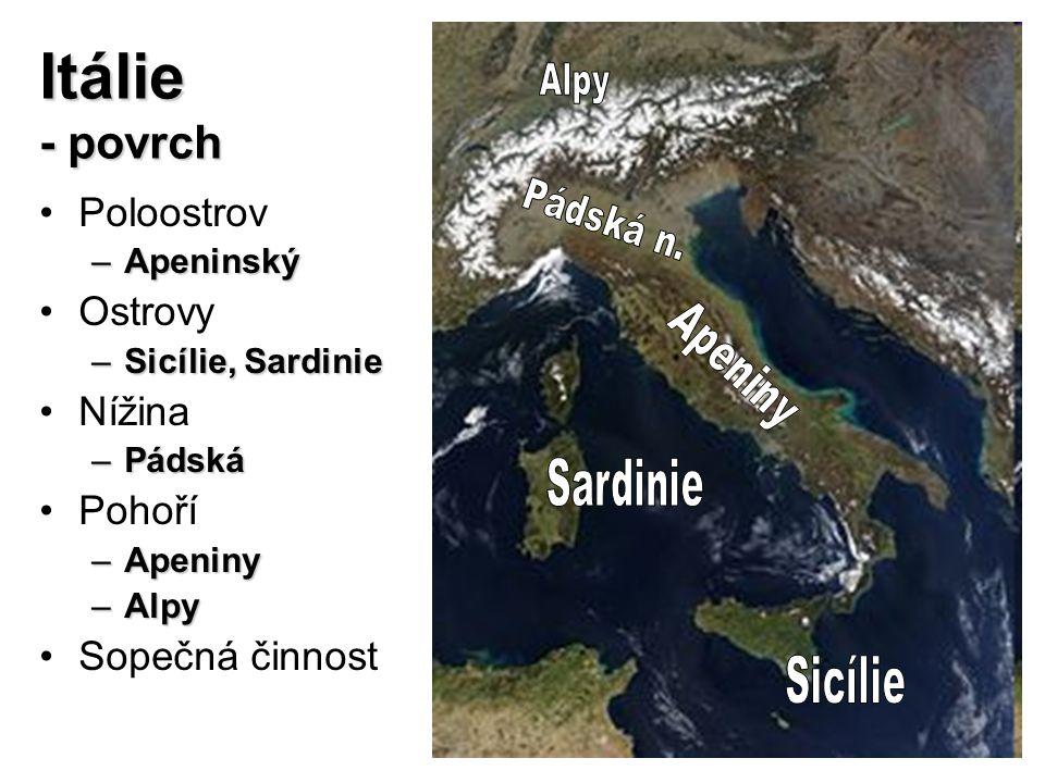 Itálie - povrch Poloostrov Ostrovy Nížina Pohoří Sopečná činnost