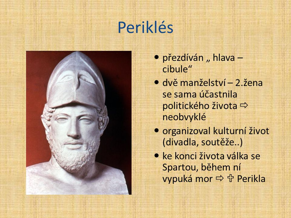 """Periklés přezdíván """" hlava – cibule"""