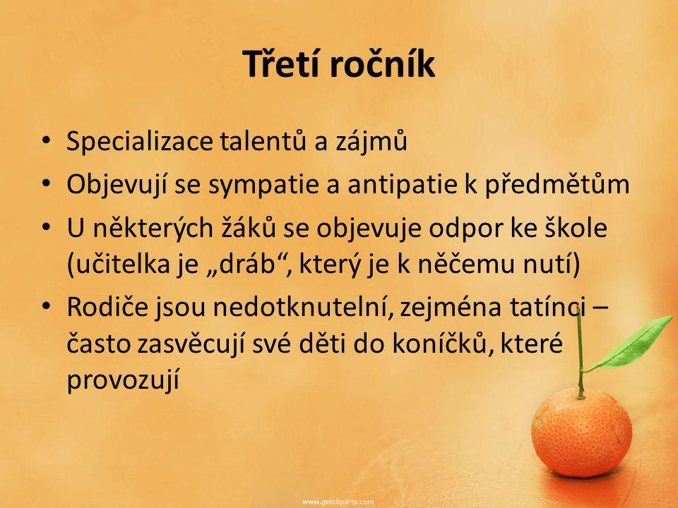 Třetí ročník Specializace talentů a zájmů
