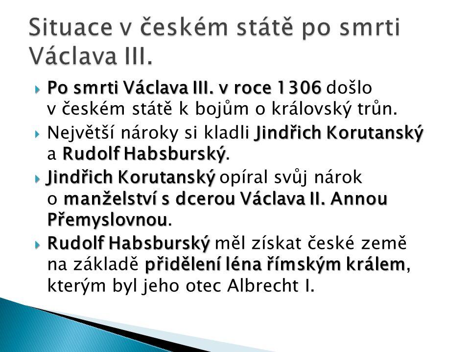 Situace v českém státě po smrti Václava III.