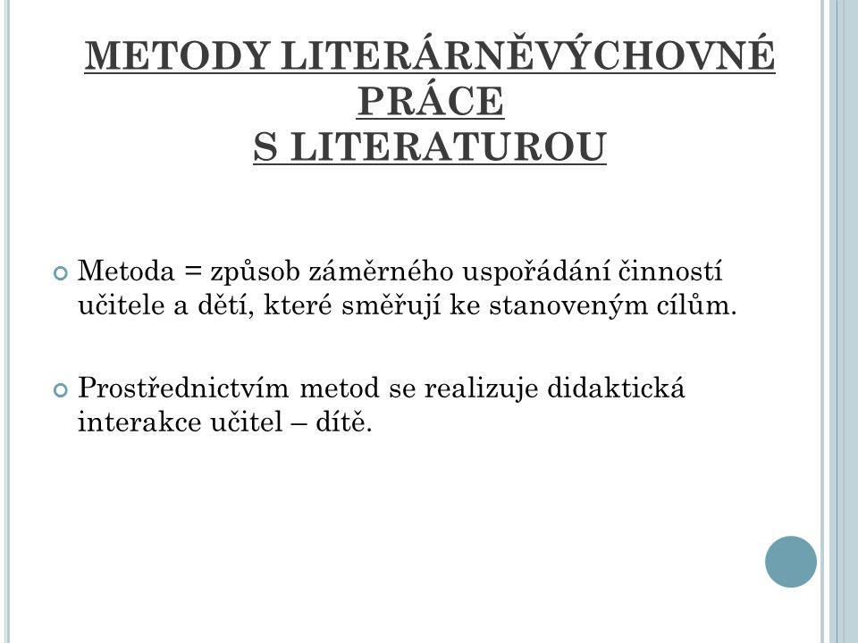 METODY LITERÁRNĚVÝCHOVNÉ PRÁCE S LITERATUROU