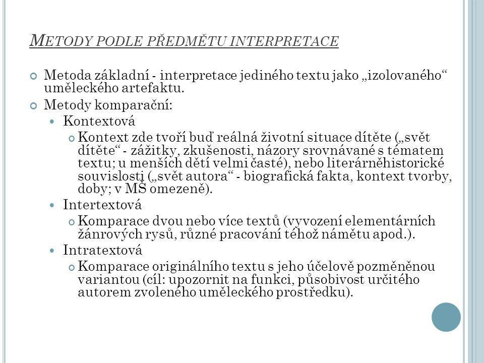 Metody podle předmětu interpretace