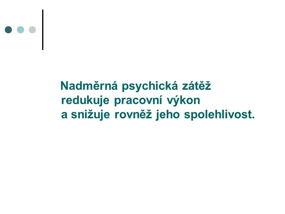 Nadměrná psychická zátěž redukuje pracovní výkon a snižuje rovněž jeho spolehlivost.