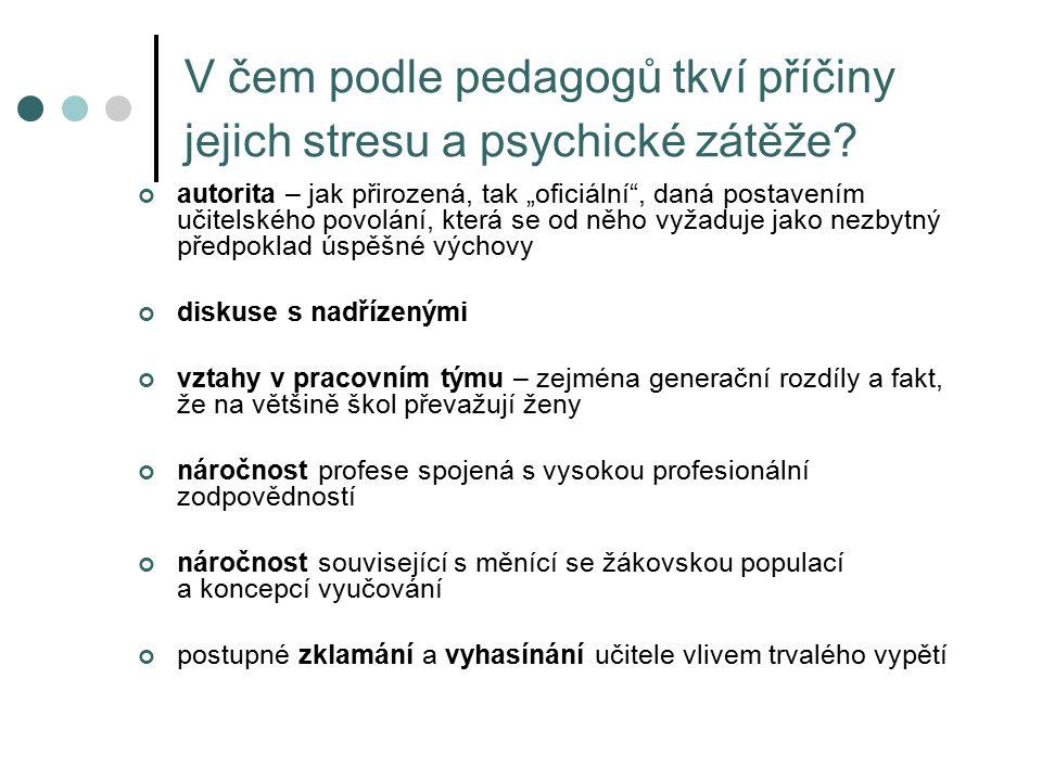 V čem podle pedagogů tkví příčiny jejich stresu a psychické zátěže