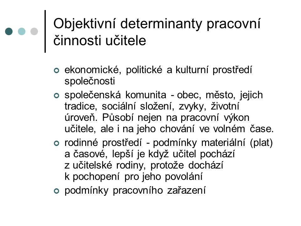 Objektivní determinanty pracovní činnosti učitele