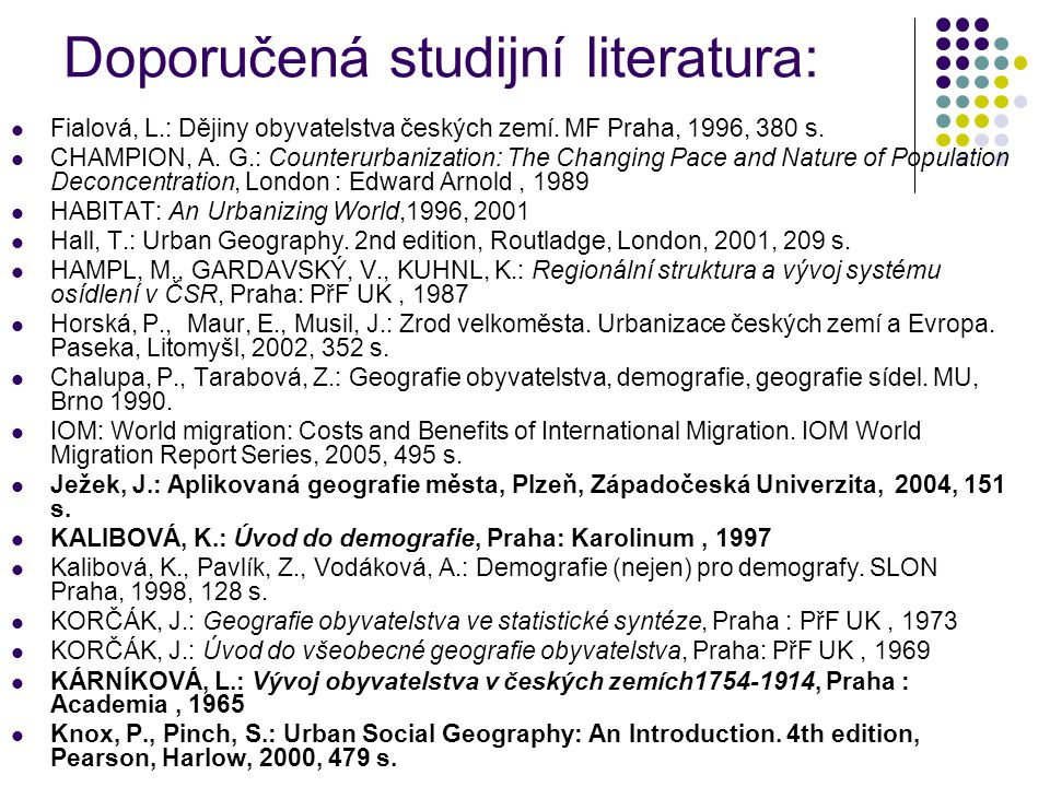 Doporučená studijní literatura: