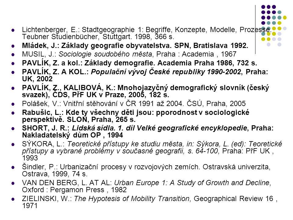 Lichtenberger, E.: Stadtgeographie 1: Begriffe, Konzepte, Modelle, Prozesse. Teubner Studienbücher, Stuttgart. 1998, 366 s.