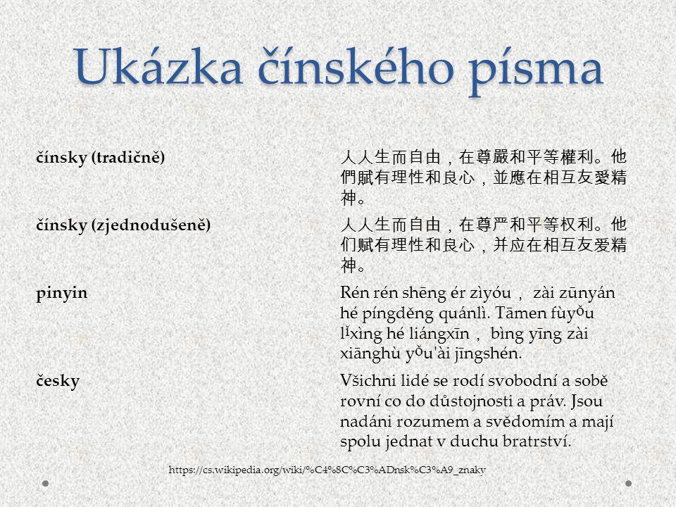 Ukázka čínského písma čínsky (tradičně)