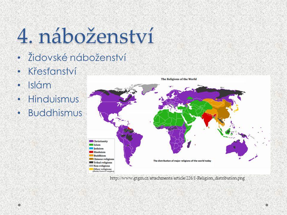 4. náboženství Židovské náboženství Křesťanství Islám Hinduismus