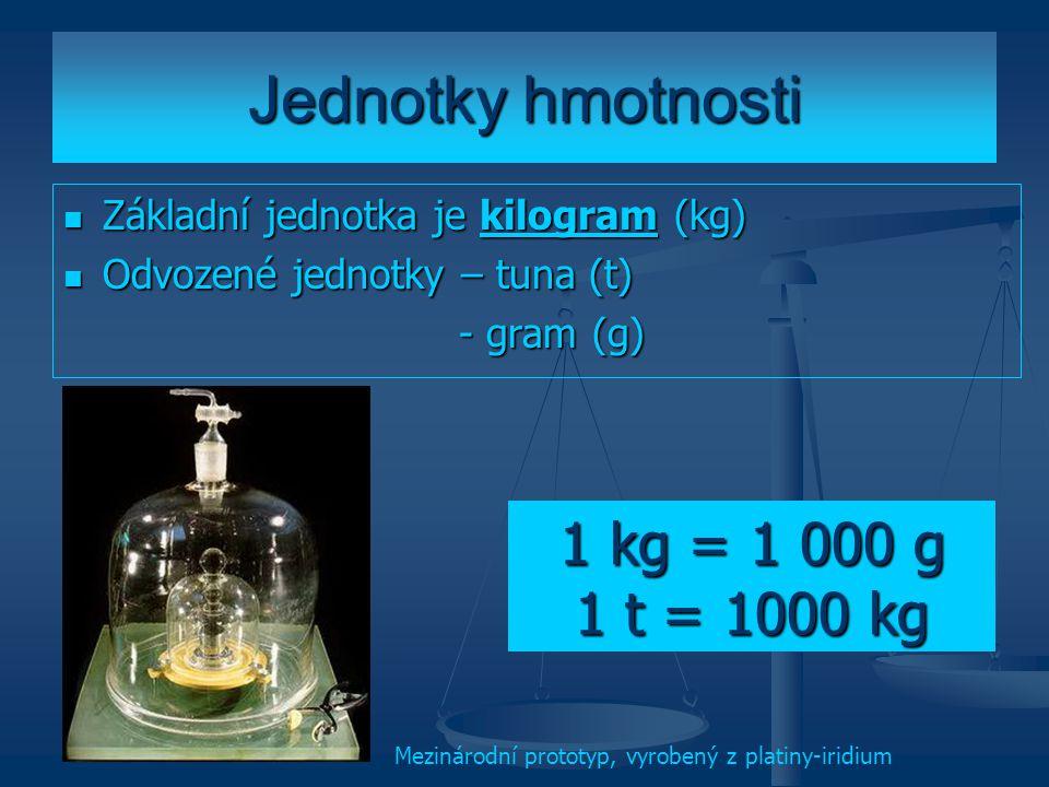 Jednotky hmotnosti 1 kg = 1 000 g 1 t = 1000 kg