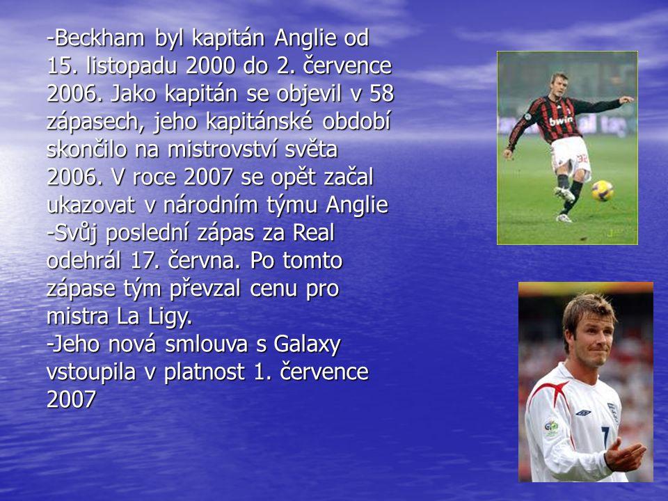 -Beckham byl kapitán Anglie od 15. listopadu 2000 do 2. července 2006