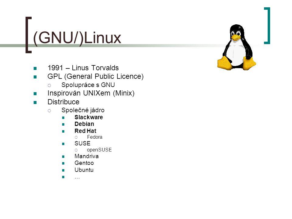(GNU/)Linux 1991 – Linus Torvalds GPL (General Public Licence)