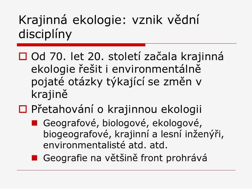 Krajinná ekologie: vznik vědní disciplíny