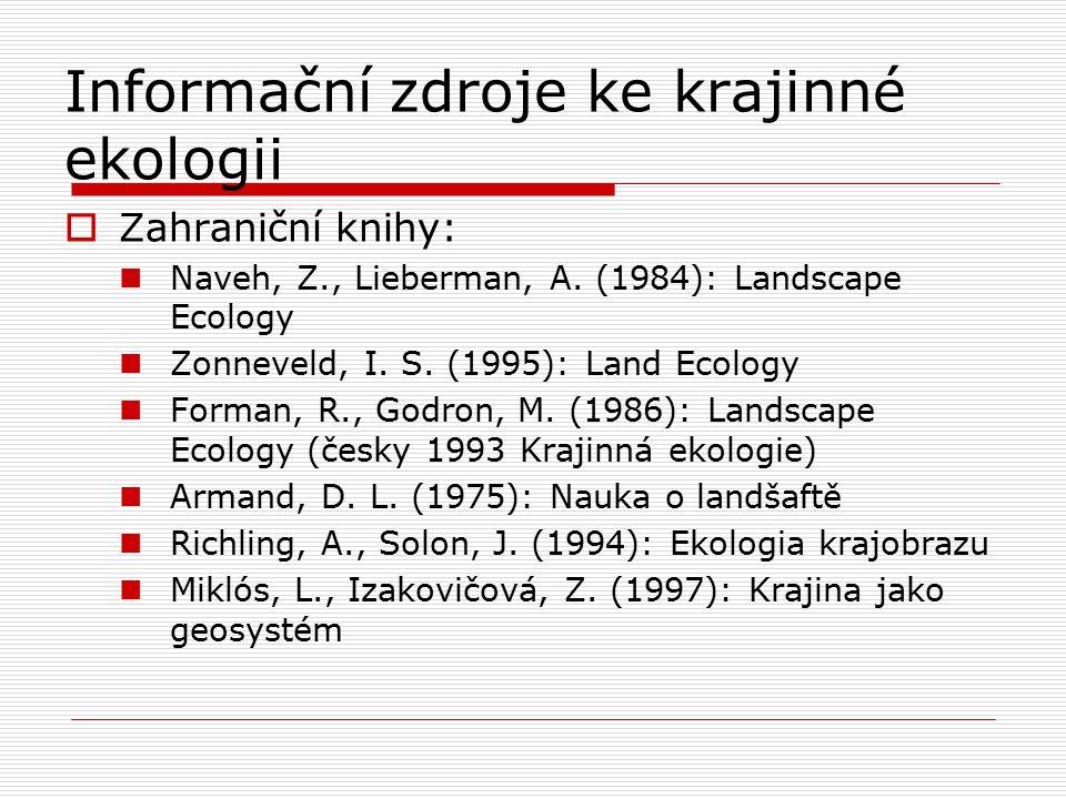 Informační zdroje ke krajinné ekologii