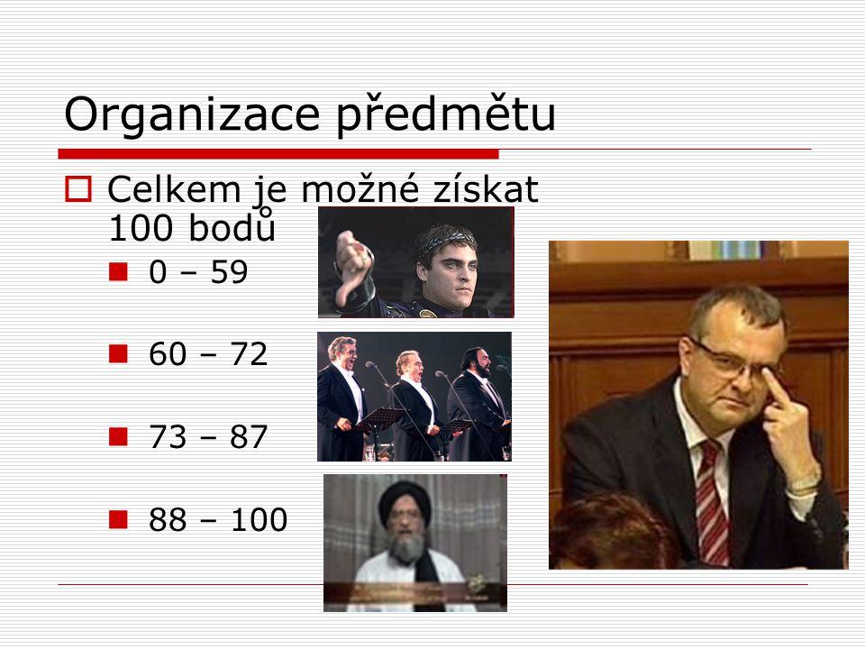 Organizace předmětu Celkem je možné získat 100 bodů 0 – 59 60 – 72
