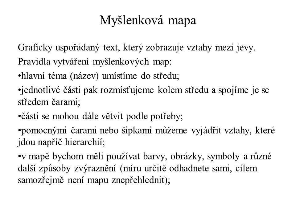 Myšlenková mapa Graficky uspořádaný text, který zobrazuje vztahy mezi jevy. Pravidla vytváření myšlenkových map: