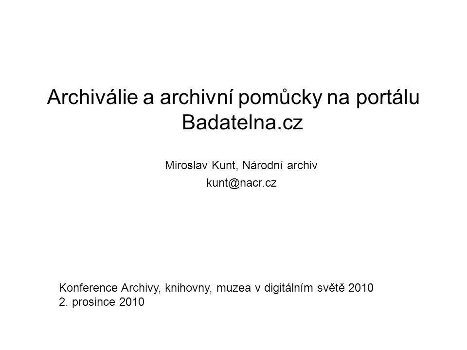 Archiválie a archivní pomůcky na portálu Badatelna.cz
