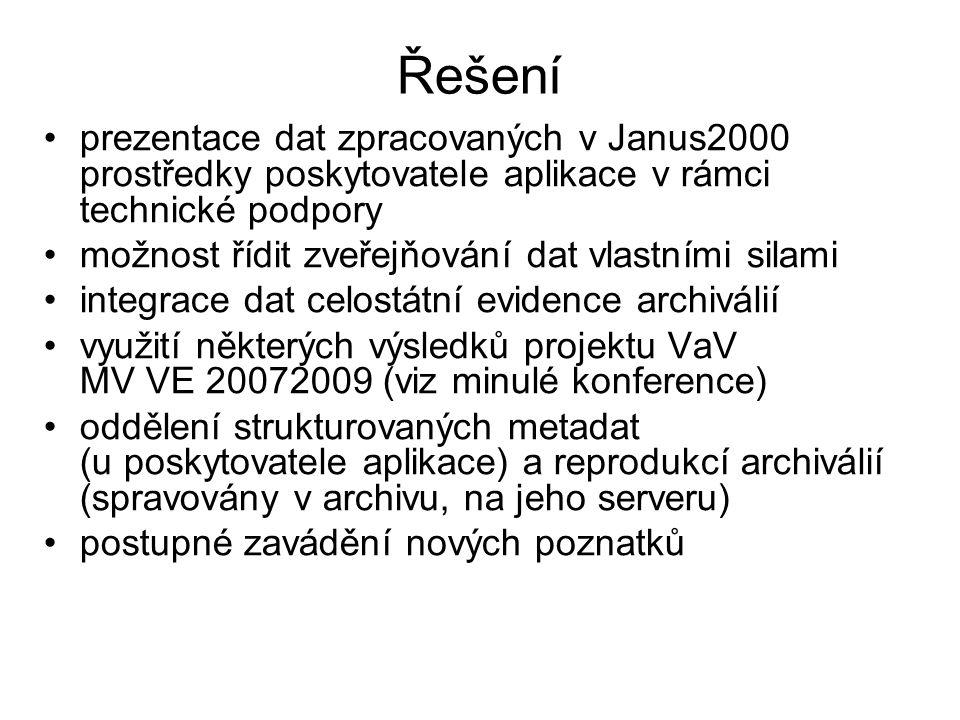 Řešení prezentace dat zpracovaných v Janus2000 prostředky poskytovatele aplikace v rámci technické podpory.