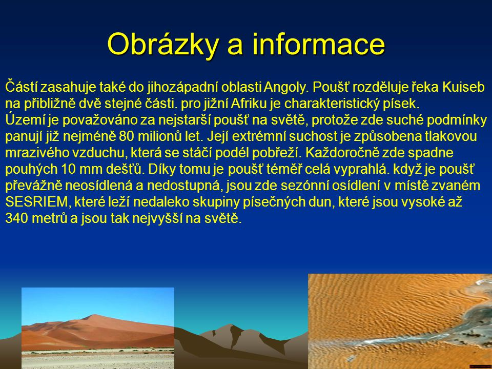 Obrázky a informace