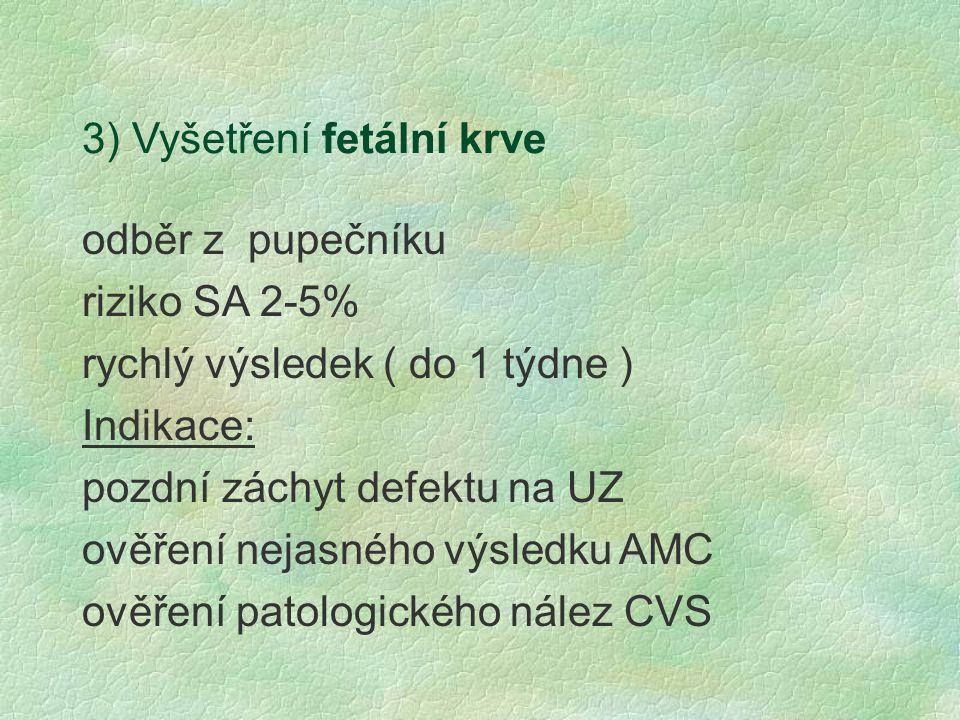 3) Vyšetření fetální krve