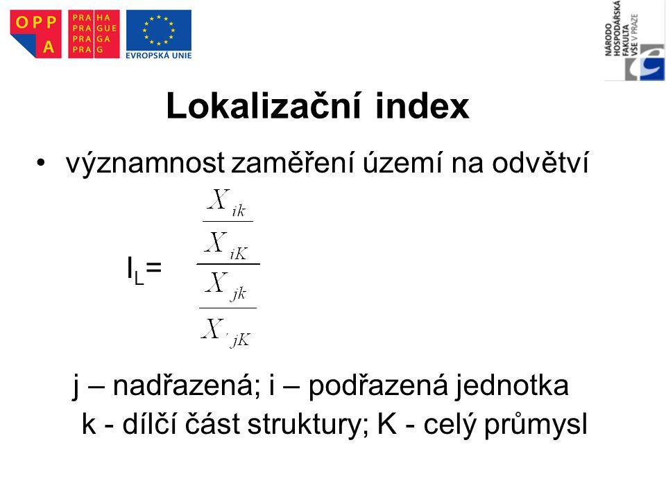 Lokalizační index významnost zaměření území na odvětví IL=