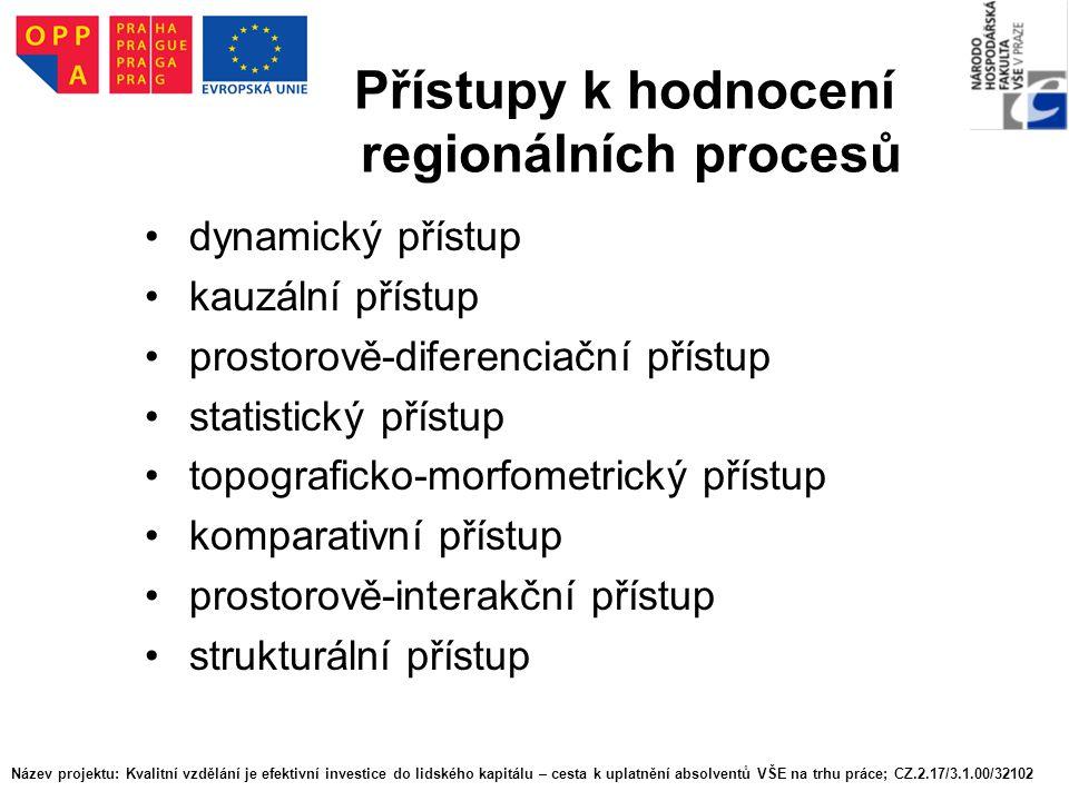 Přístupy k hodnocení regionálních procesů