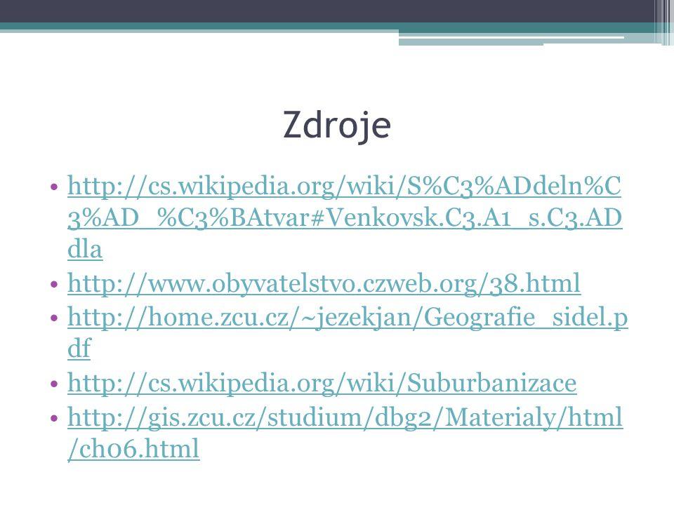 Zdroje http://cs.wikipedia.org/wiki/S%C3%ADdeln%C 3%AD_%C3%BAtvar#Venkovsk.C3.A1_s.C3.AD dla. http://www.obyvatelstvo.czweb.org/38.html.