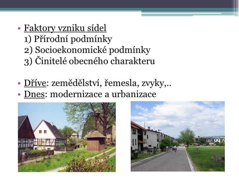 Faktory vzniku sídel 1) Přírodní podmínky. 2) Socioekonomické podmínky. 3) Činitelé obecného charakteru.
