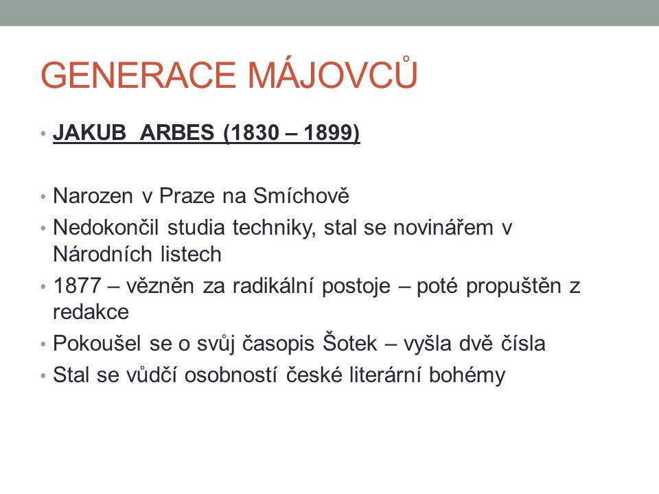 GENERACE MÁJOVCŮ JAKUB ARBES (1830 – 1899) Narozen v Praze na Smíchově