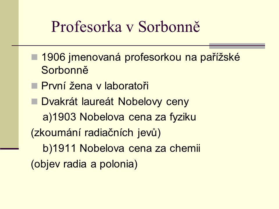 Profesorka v Sorbonně 1906 jmenovaná profesorkou na pařížské Sorbonně