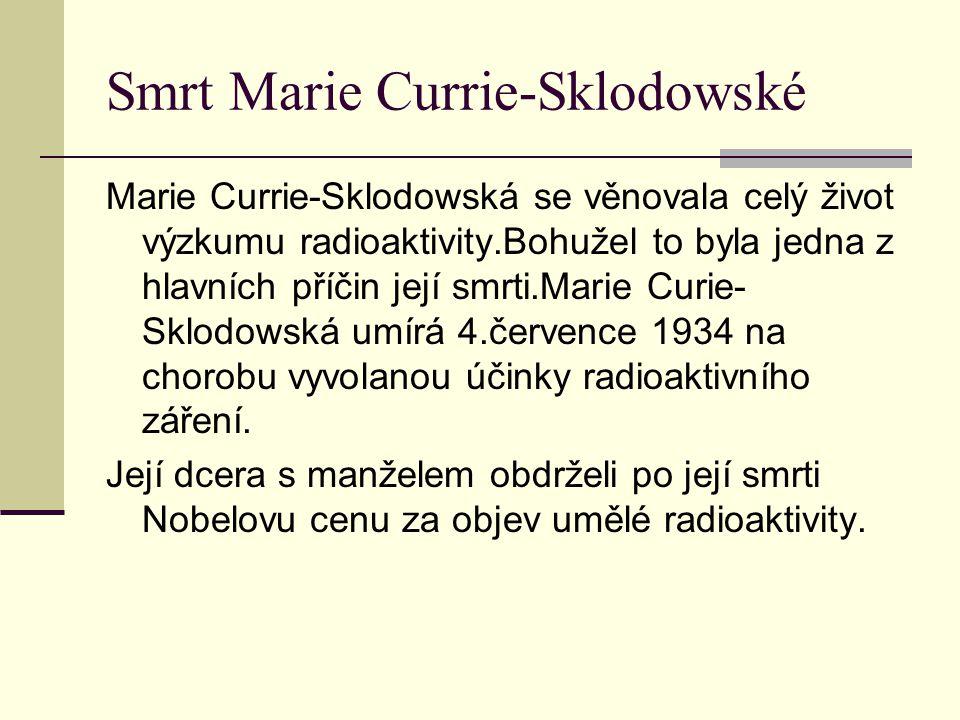 Smrt Marie Currie-Sklodowské