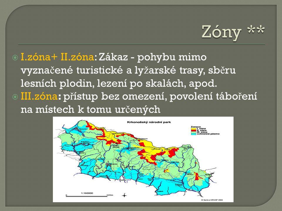 Zóny ** I.zóna+ II.zóna: Zákaz - pohybu mimo vyznačené turistické a lyžarské trasy, sběru lesních plodin, lezení po skalách, apod.