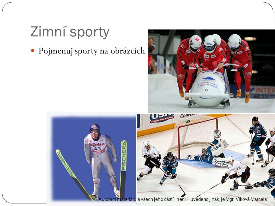 Zimní sporty Pojmenuj sporty na obrázcích