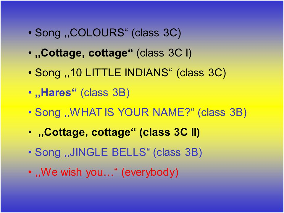 Song ,,COLOURS (class 3C)