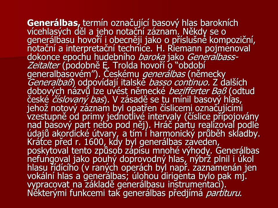 Generálbas, termín označující basový hlas barokních vícehlasých děl a jeho notační záznam.